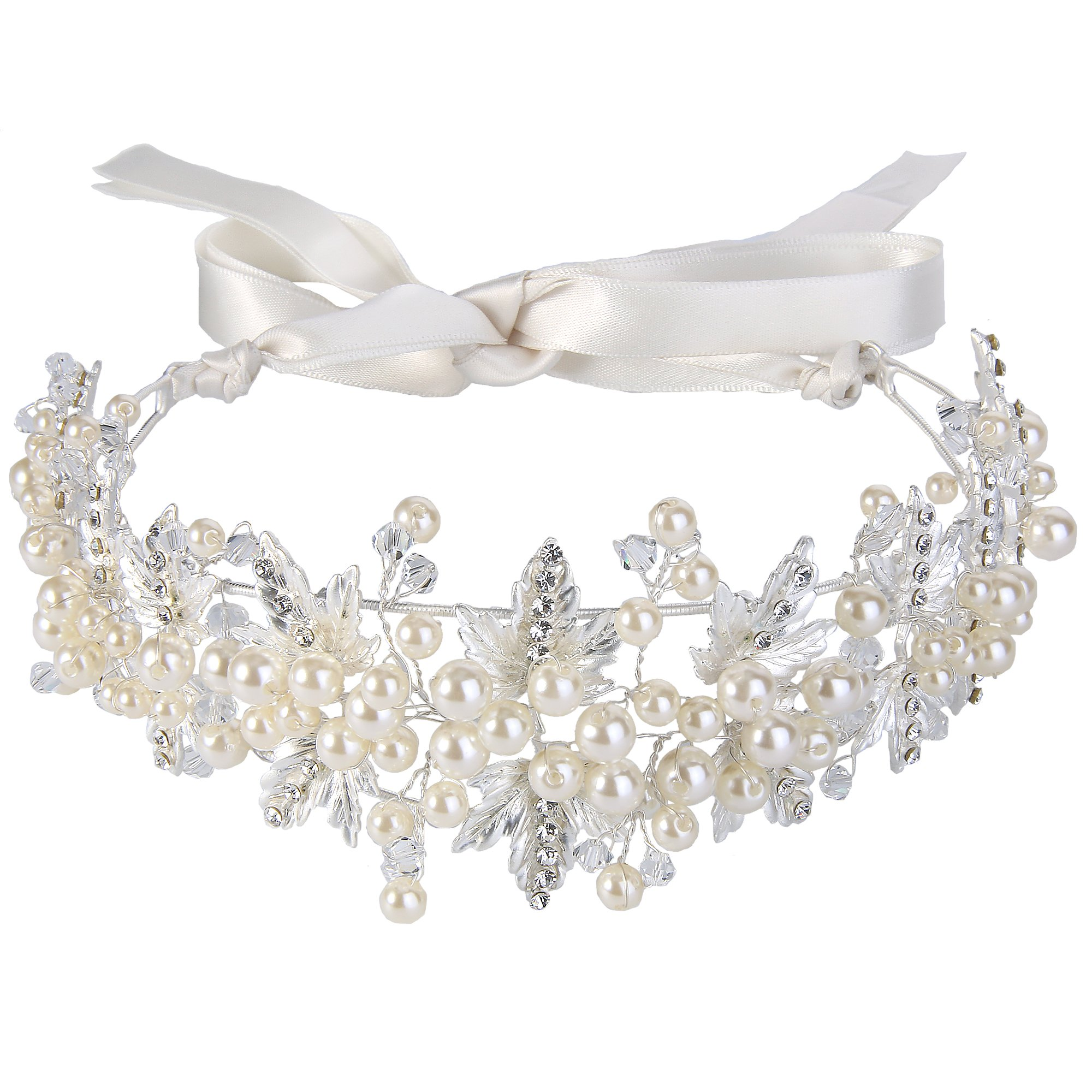 BriLove Women's Bohemian Wedding Bridal Ivory Color Simulated Pearl Leaf Bendable Crystal Ribbon Tie Headband