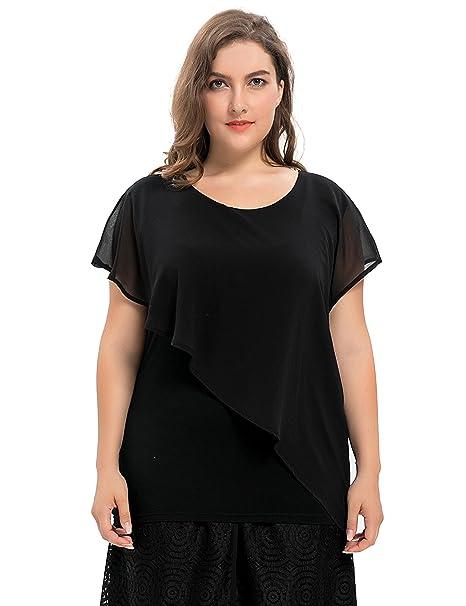 Chicwe Mujeres Tallas Grandes Elástica Túnica Top Camiseta con Capa de Gasa - Blusa Casual en