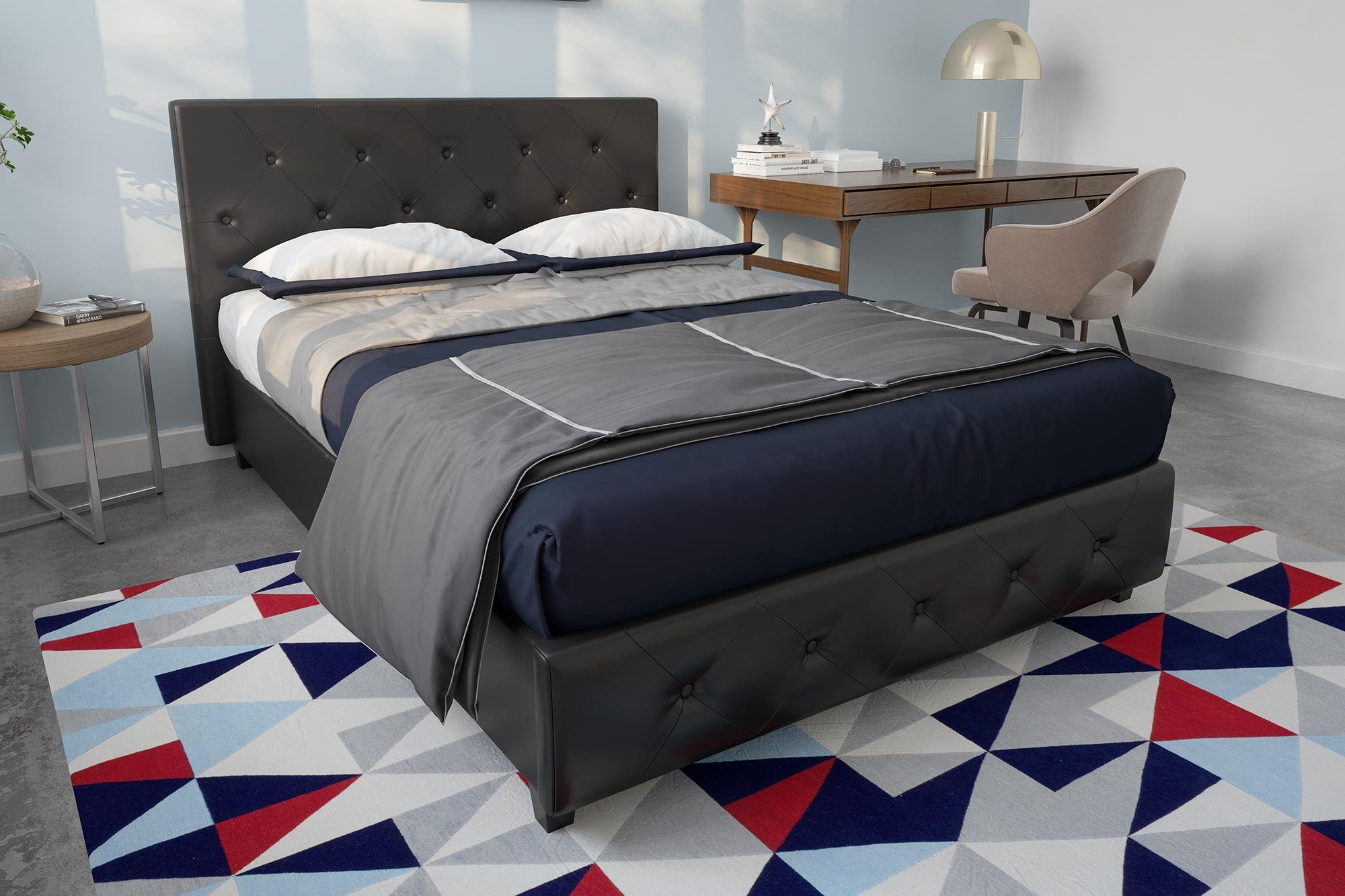 DHP Dakota Faux Leather Upholstered Platform Bed Frame with Signature Sleep Memoir 8-Inch Memory Foam Mattress Set, Full Size, Black