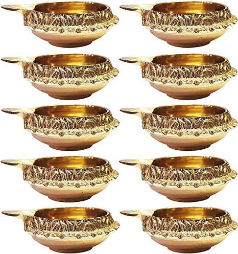 100/% Pur Laiton Diwali Diya Indien Tradiotional Pooja Huile Lampe Or Grav/é Conception Pi/èce ma/îtresse Page daccueil Cadeau Article