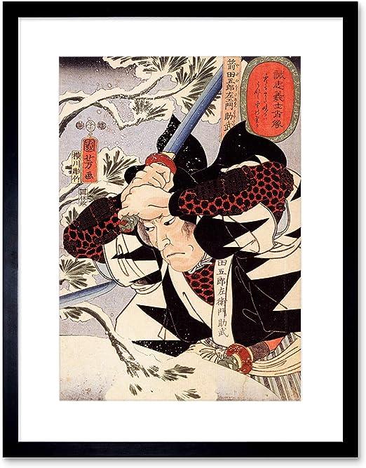 Samurai vintage japanese woodcut print repro 16x24