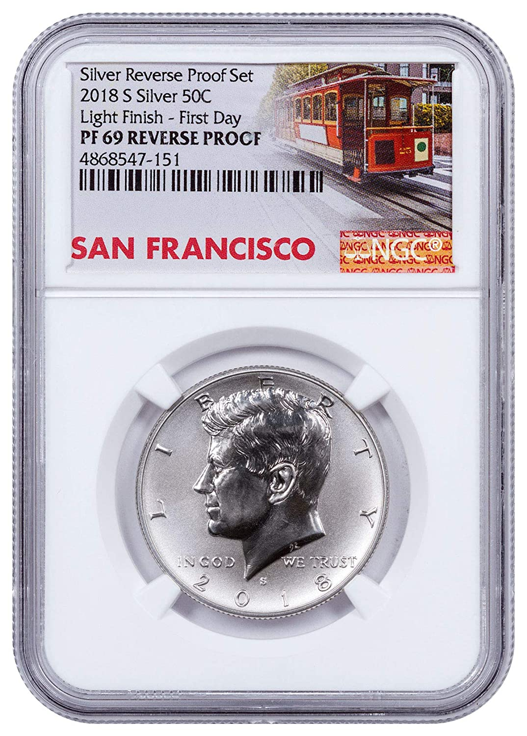 2018 San Francisco Mint Silver Reverse Proof Set with LIGHT FINISH Kennedy Half.
