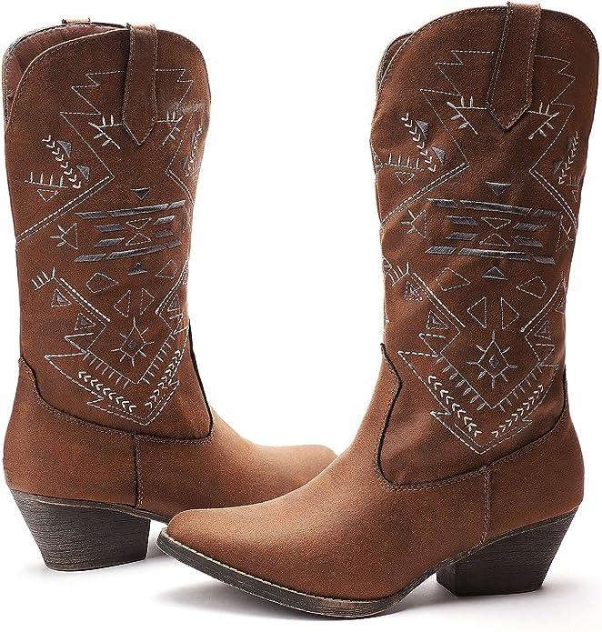 Cowgirl Mid-Calf Booties Stacked Heel
