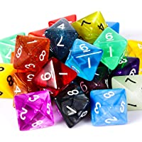TecUnite 25 Pieces Polyhedral Dice Set with Black Pouch for DND RPG MTG and Other Table Games with Random Multi Colored Assortment (Transparent and Dots, 8 Sides)