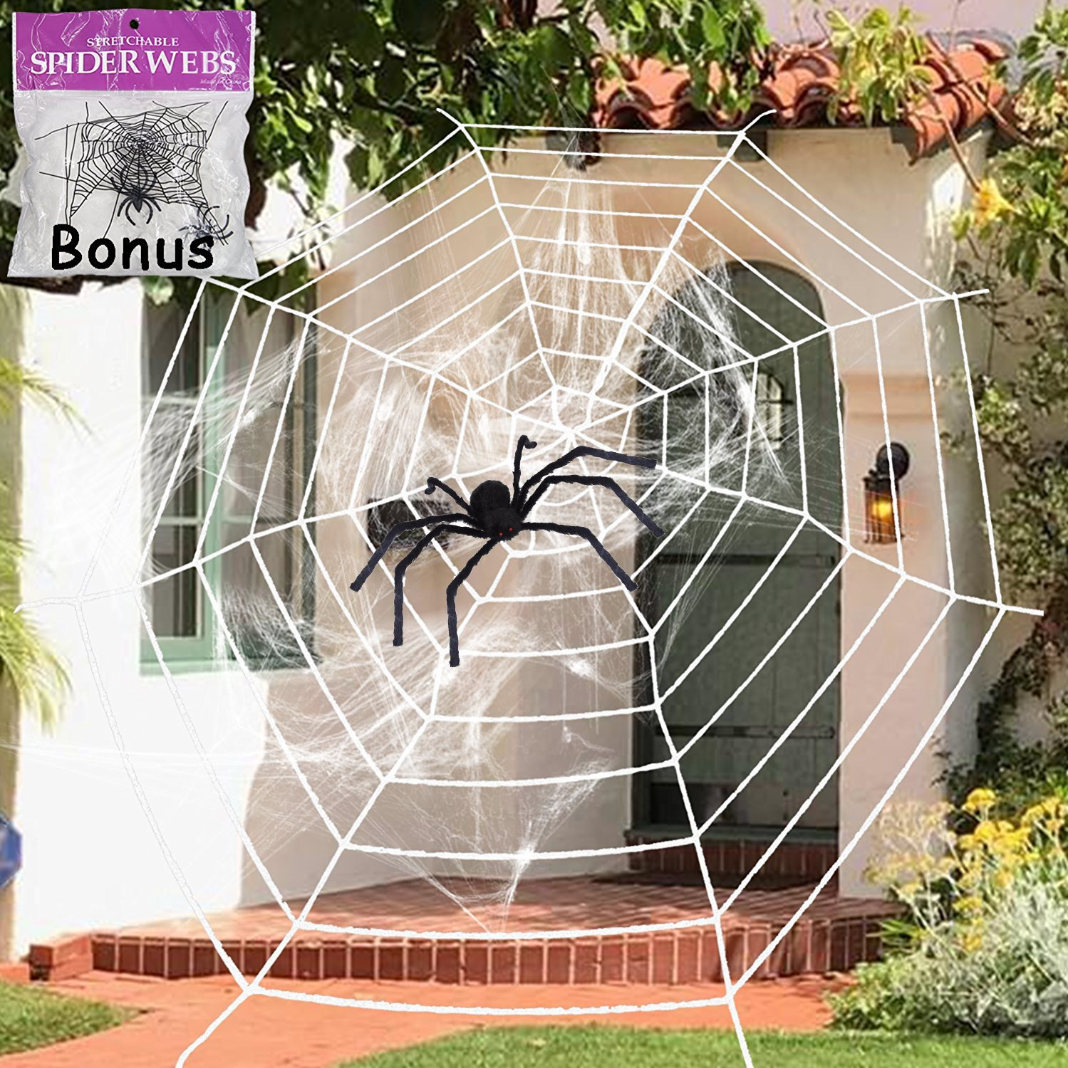 11.8 Feet Black Plush Spider Web Stretch Cobweb Set with Realistic Looking Hairy Spider, Best for Halloween Outdoor Yard Haunted House Party Decoration, Decor Supplies Props Party Favor (White Web)