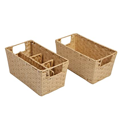 Ordinaire SLPR Paper Rope Wicker Storage Basket (Set Of 2) | Rustic Farmhouse Country  Style