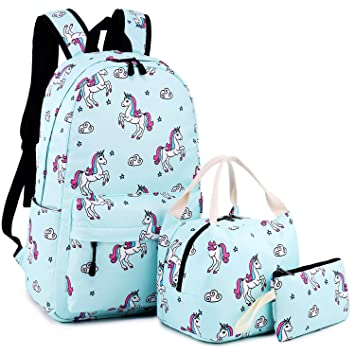 3e883f31f19 School Backpack for Girls Cute Bookbag Laptop SchoolBag with Lunch tote for  Teens Boys Kids Waterproof travel Daypack (Light blue)