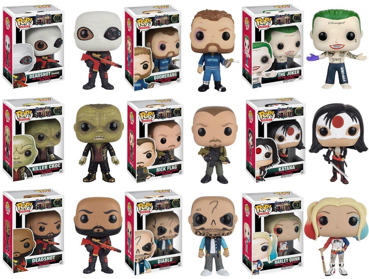 Funko POP Movies/Heroes: Suicide Squad Complete Set of 9 - Deadshot [Unmasked], Diablo, Katana, Killer Croc, Boomerang, Rick Flag, The Joker, Harley Quinn, Deadshot [Masked]