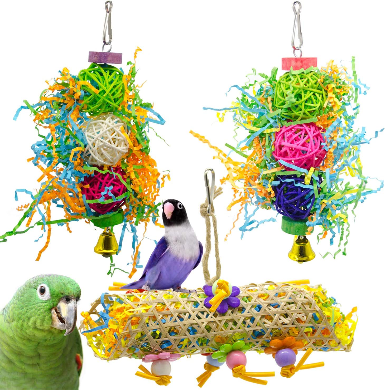 SHANTU 3Pack Bird Chewing Toys Foraging Shredder Toy Parrot Cage Shredder Toy Bird Loofah Toys Foraging Hanging Toy for Cockatiel Conure African Grey Parrot