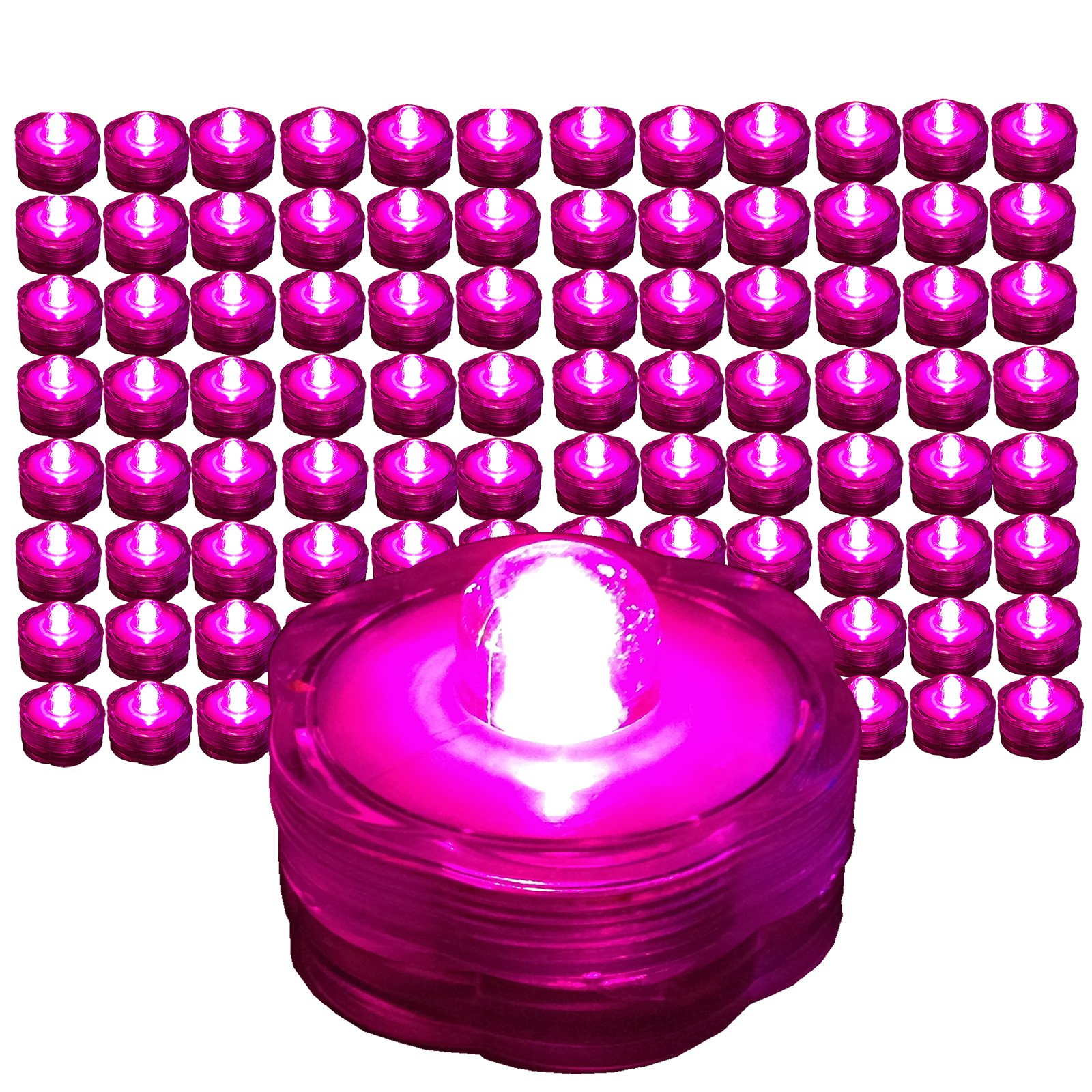 Pack of 96 - Pink - Submersible Waterproof Underwater Tea Light Sub Lights Battery Operated LED TeaLight ~ Wedding Centerpieces, Decor~ BlueDot Trading