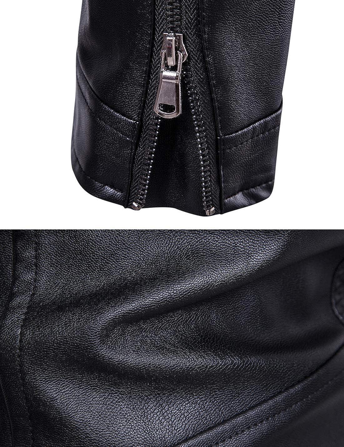 Tanming Mens Slim Stand Collar Slant Zipper Lace Up Outerwear Moto Biker Jacket Coats