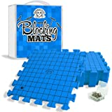Hephaestus Crafts Blocking Mats for Knitting - Pack of 9 BLUE Blocking Boards with Grids for Needlepoint or Crochet. 100 T-pins and Reusable Carry Bag