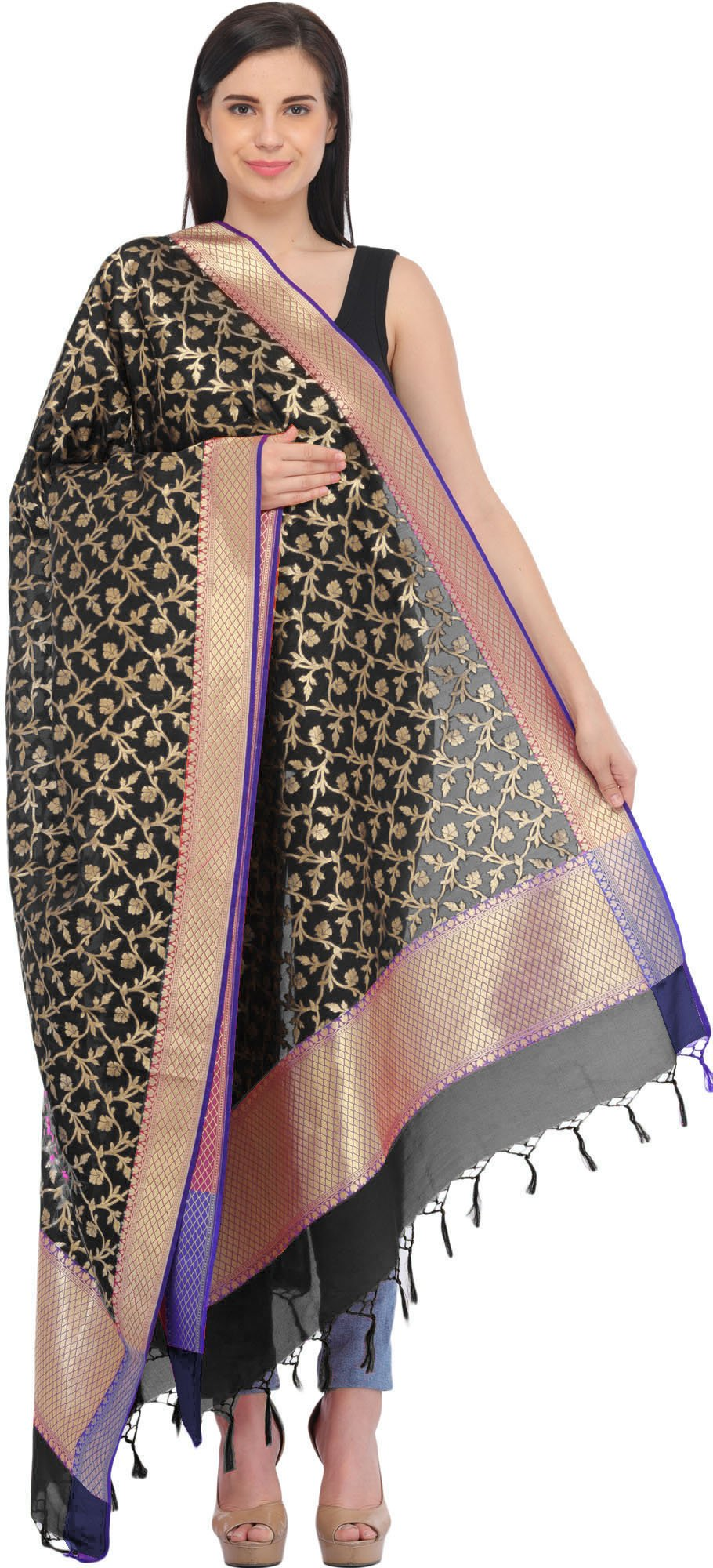 Exotic India Banarasi Brocaded Dupatta with Floral Weav - Color Jet Black
