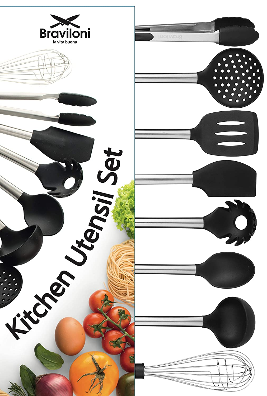 Kitchen Utensil Set - 8 Best Kitchen Utensils - Nonstick Cooking Spatulas - Silicone & Stainless Steel Kit - For Pots & Pans - Serving Tongs, Spoon, Spatula Tools, Pasta Server, Ladle, Strainer, Whisk Braviloni