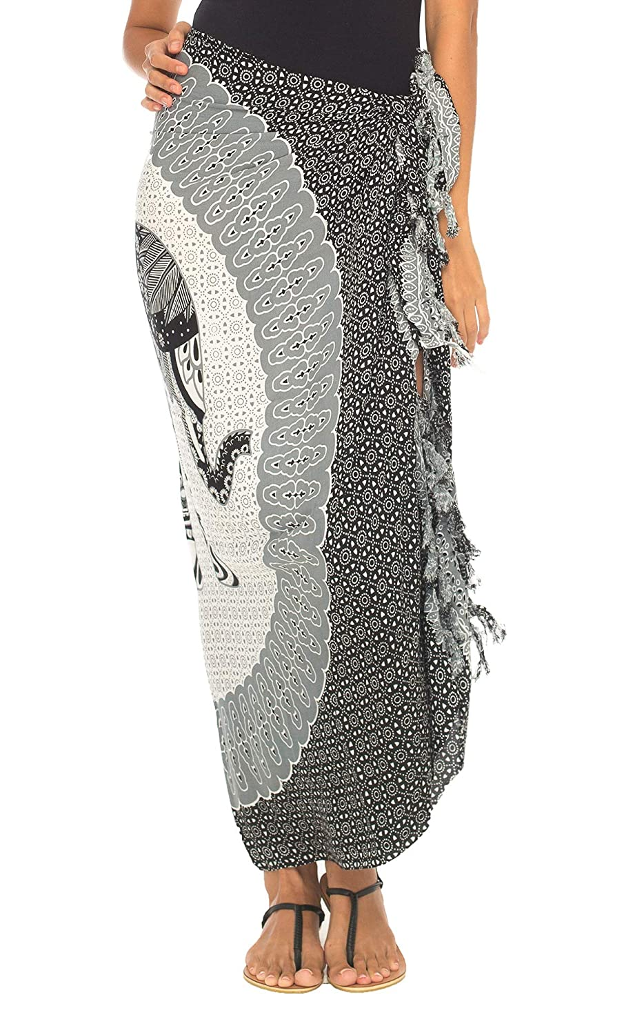 92fd773114 SHU-SHI Womens Beach Swimsuit Cover Up Sarong Wrap Elephant with Coconut  Clip Black/Grey at Amazon Women's Clothing store: