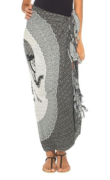 ecbd8e5ec4fae SHU-SHI Womens Beach Swimsuit Cover Up Sarong Wrap Elephant with Coconut  Clip Black