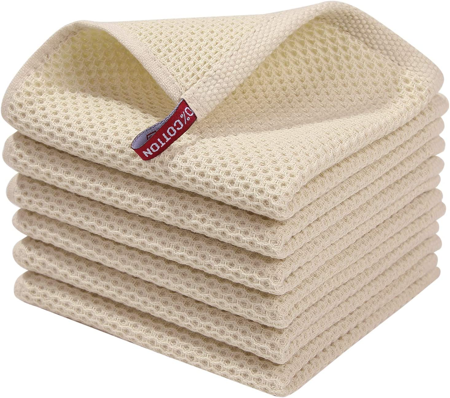 Homaxy 100 Cotton Waffle Weave Kitchen Dish Cloths Ultra Soft Absorbent Quick Drying Dish Towels 12x12 Inches 6 Pack Beige Home Kitchen