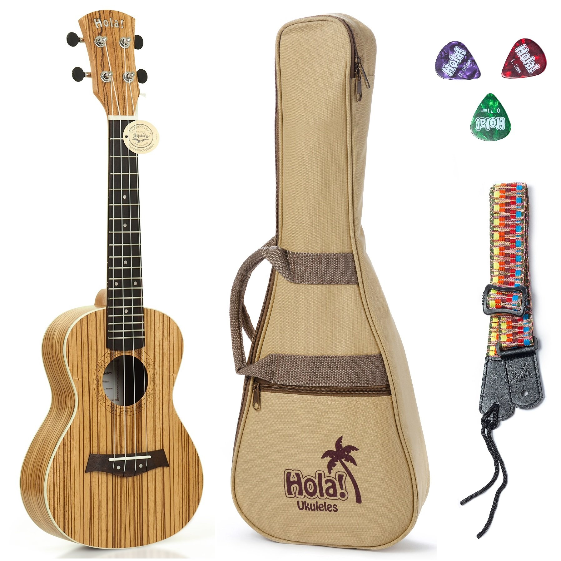Concert Ukulele Bundle Deluxe Series by Hola! Music (Model HM-124ZW+), Bundle Includes: 24 Inch Zebrawood Ukulele with Aquila Nylgut Strings Installed, Padded Gig Bag, Strap and Picks