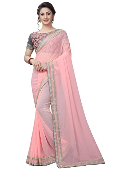 70db4f101 Tagline Faux Georgette Saree With Embroidered Blouse Piece  Amazon ...