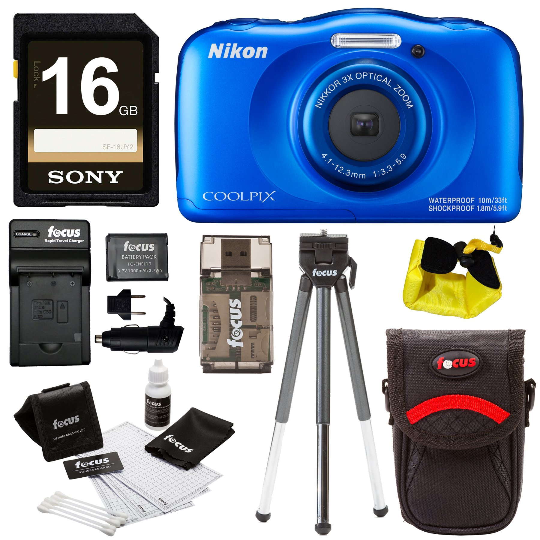 Nikon Coolpix W100 Waterproof Digital Camera (Blue) with 16GB Card + Battery with Charger + Strap and Bundle by Focus Camera