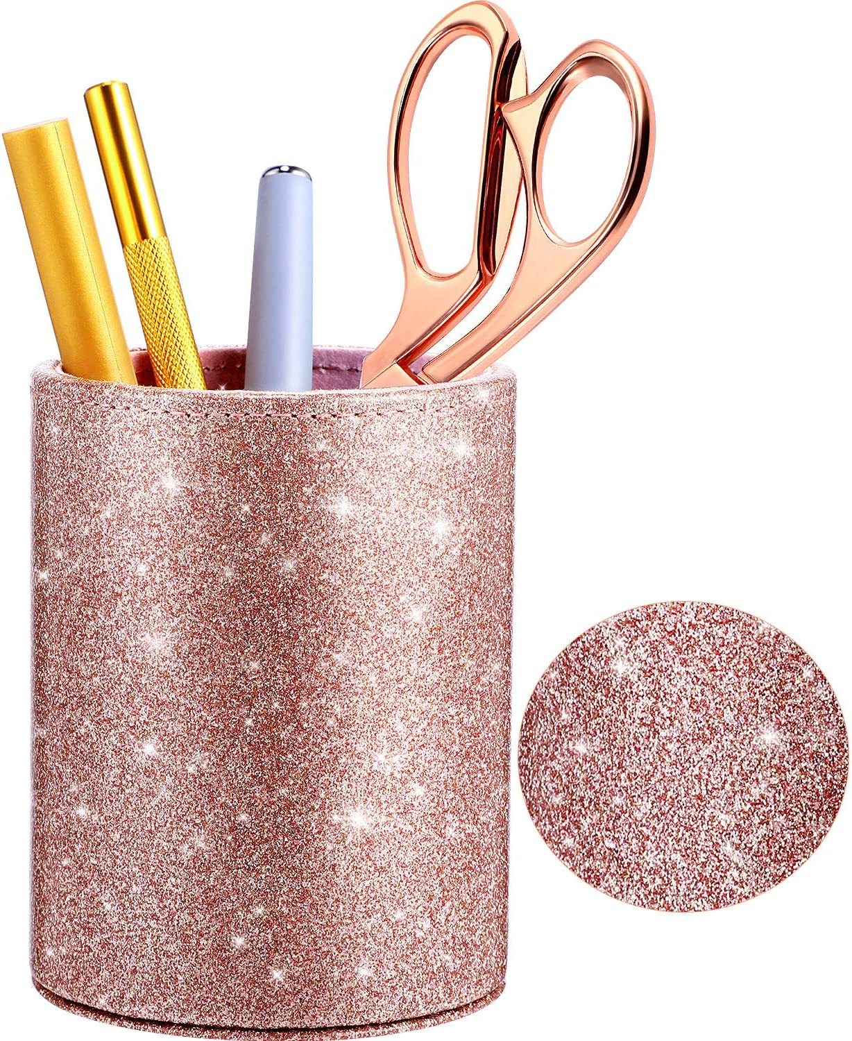 PU Glitter Pen Holder Pencil Cup Shiny for Women Girls, Luxury Makeup Brush Holder Pu Leather Organizer Cup Gift for Desk Office Classroom Home (Rose Gold)