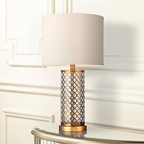 Alcazar Modern Table Lamp Brass and Clear Mercury Glass Off White Drum Shade for Living Room Family Bedroom Nightstand Office – 360 Lighting
