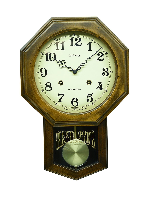 さんてる アンティーク電波振り子時計(八角) 日本製掛け時計 ブラウン DQL624 B019E60MCG