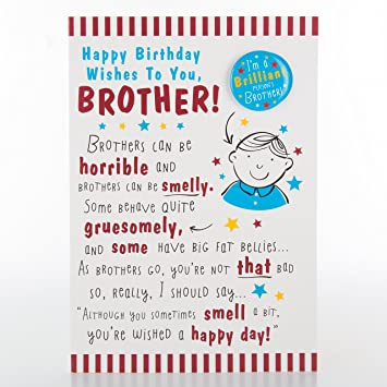 Hallmark Brother Birthday Card With Badge Medium Amazoncouk