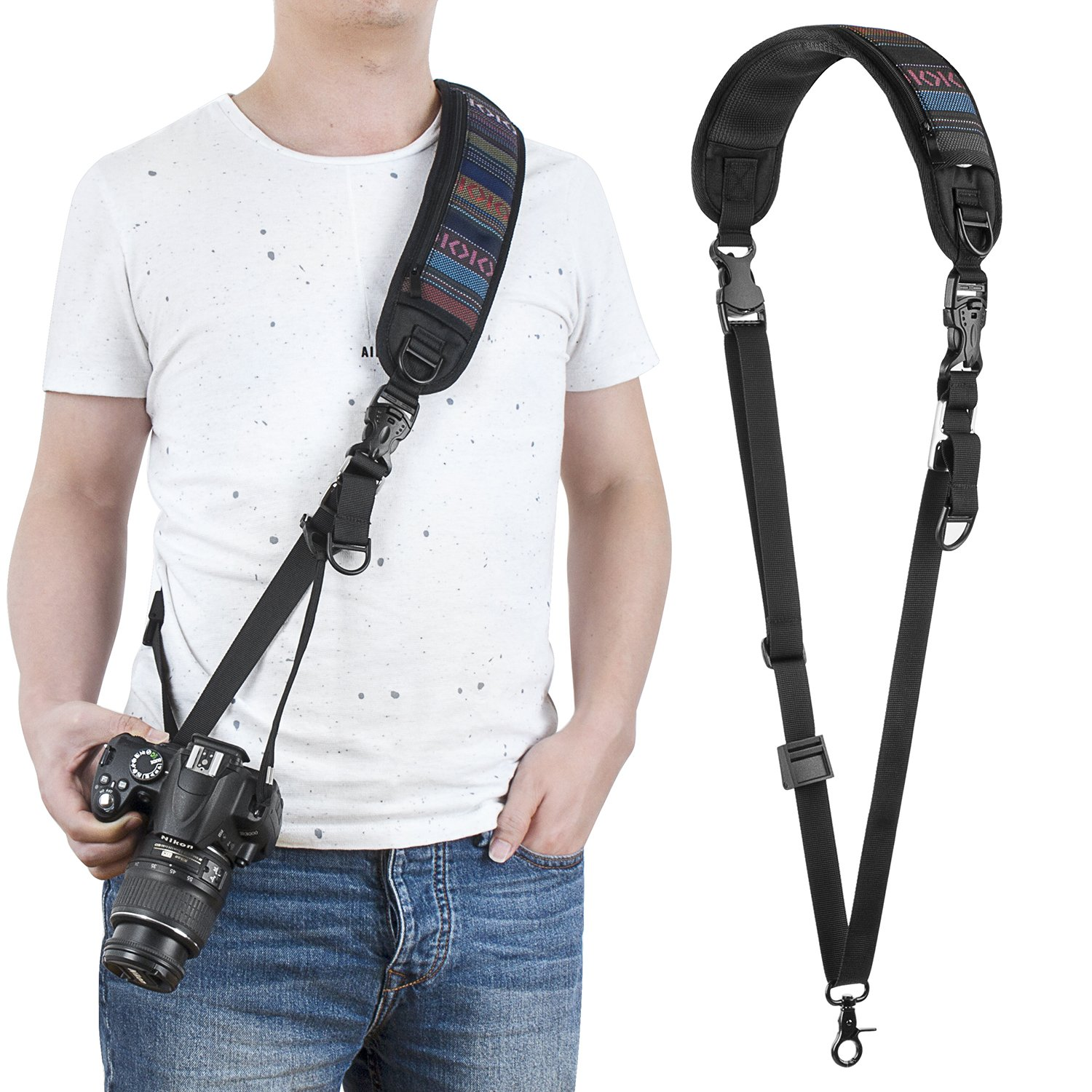 waka Rapid Fire Camera Neck Strap with Quick Release and Safety Tether, Comfortable and Durable Shoulder Sling Camera Strap, Black by waka
