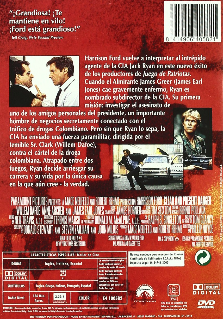 Peligro inminente [DVD]: Amazon es: Harrison Ford, Willem
