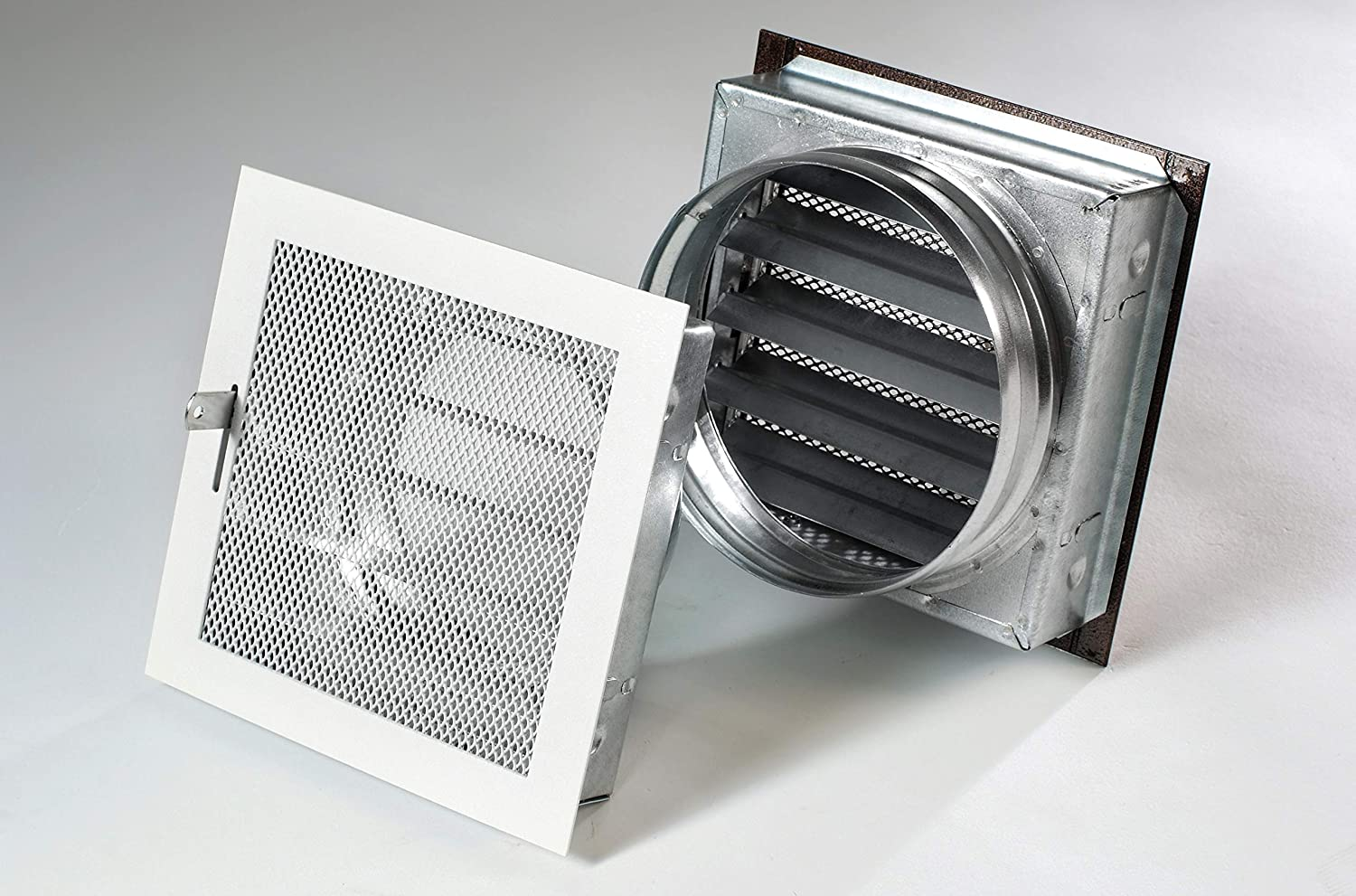 Warm air Grille with Mounting Frame, Oven, Grill, Air Vent Temperature Resistant White 180 x 180 mm PLS