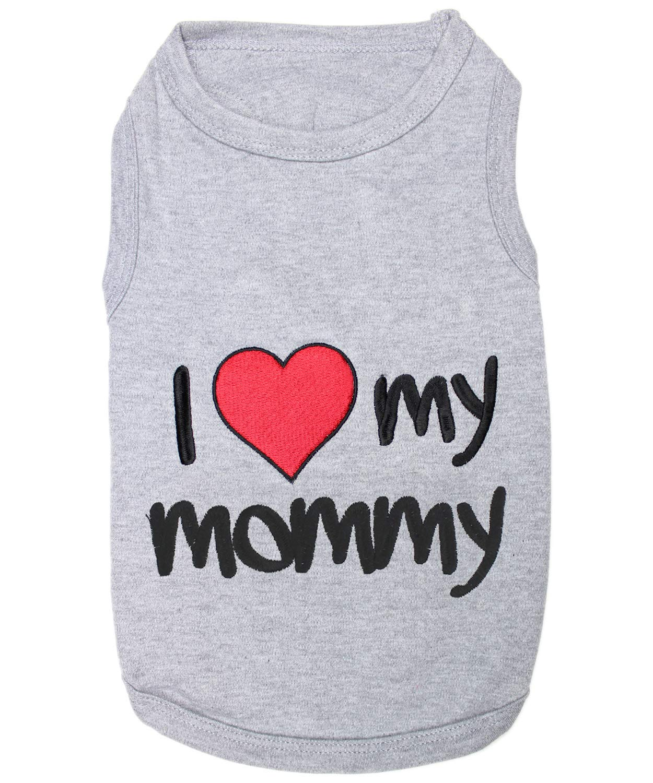 Parisian Pet P006XL4 I Love Mommy Dog T-Shirt, 4XL, Grey