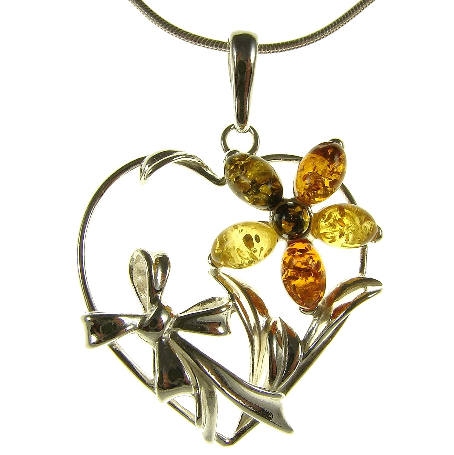 10 12 14 16 18 20 22 24 26 28 30 32 34 36 38 40 1mm ITALIAN SNAKE CHAIN Baltic amber and sterling silver 925 designer multi-coloured flower leaf pendant necklace