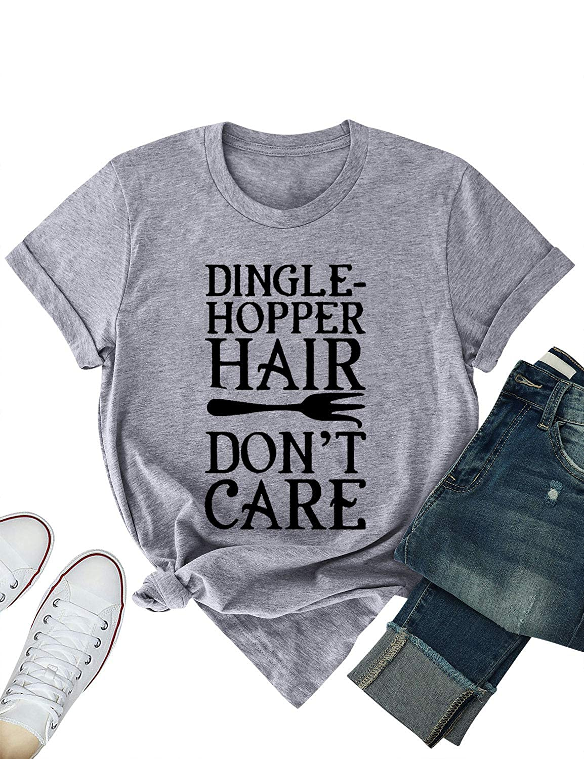 Nlife Women Dingle-Hopper Hair Don't Care T-Shirt Solid Color Casual Tops Tee