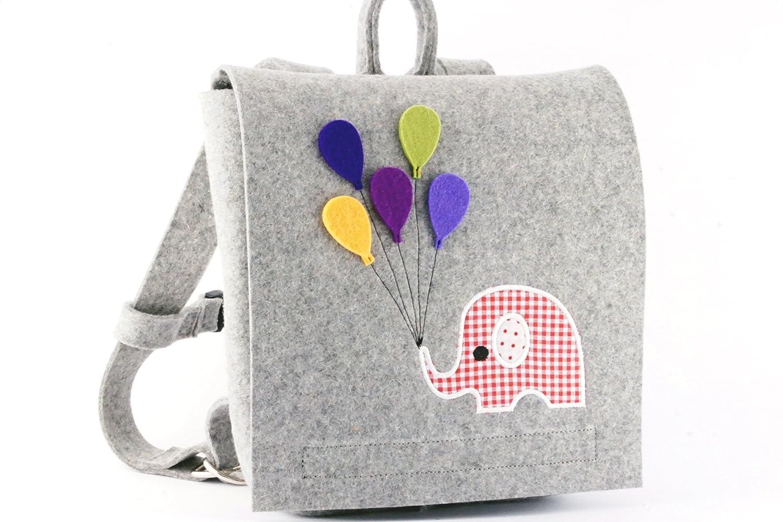 Kindergartenrucksack, Rucksack für Mädchen, Rucksack für Kindergarten aus hochwertigem Wollfilz appliziert mit einem rosa Elefanten