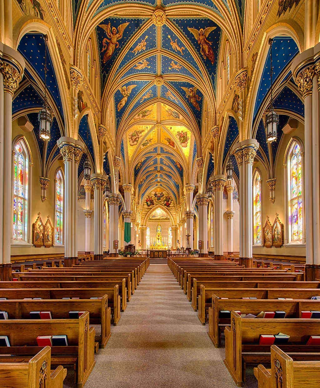 Eaiizer Poster Basilica Sacred Heart Campus University Notre Dame South Bend Indiana Wall Art Print Artwork for Home Bedroom Office Dorm Decor Unframed Painting 24x36 Inches