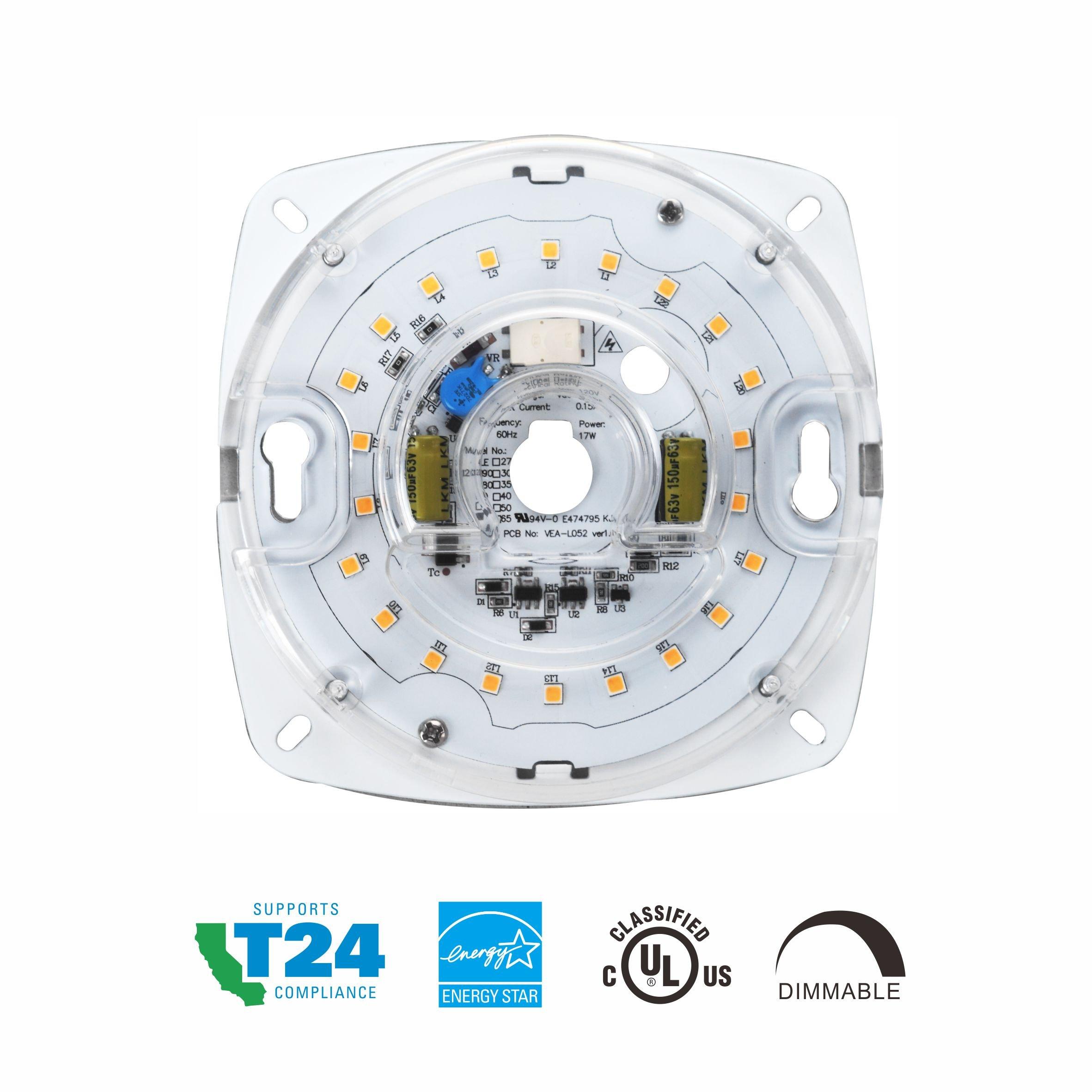Silverlite 4'',17W,3000K,1200LM,120V,CRI90,Dimmable LED Light Engine,Retrofit Light Kit for Ceiling Flush Light,Ceiling Fan Light,Pendant,Lantern,Garden light