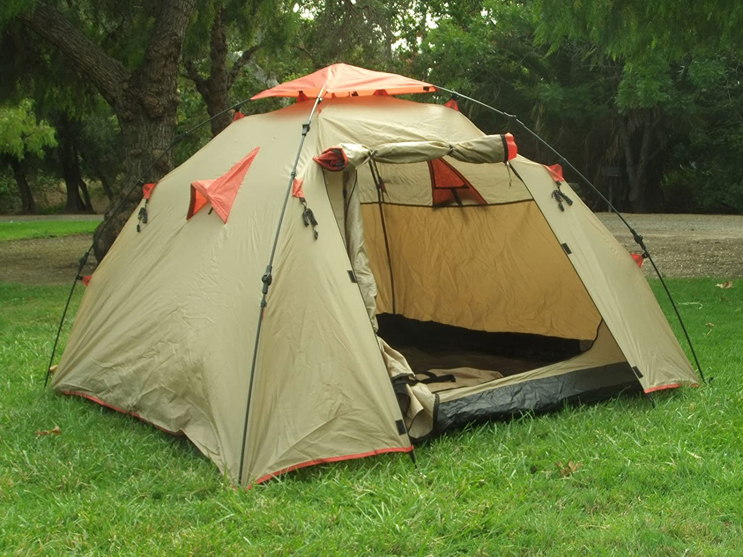 Amazon.com  Genji Sports Instant C&ing Tent (3 Person) Large Light Brown  Sports u0026 Outdoors & Amazon.com : Genji Sports Instant Camping Tent (3 Person) Large ...