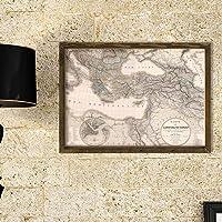 Dekorjinal Masif Ahşap Çerçeveli Harita Map044 1854 Carte De L'Empire Ottoman