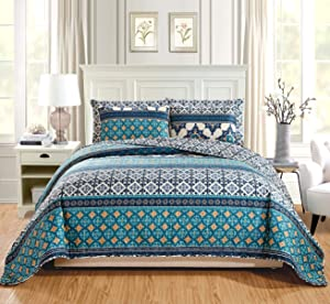 """GrandLinen 3-Piece Fine Printed Oversize (115"""" X 95"""") Quilt Set Reversible Bedspread Coverlet King Size Bed Cover (Turquoise, Navy, Blue Geometric)"""