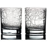 City Map Whiskey Old Fashioned Glasses - Etched - Set of 2 - WHISKEY - City Grid