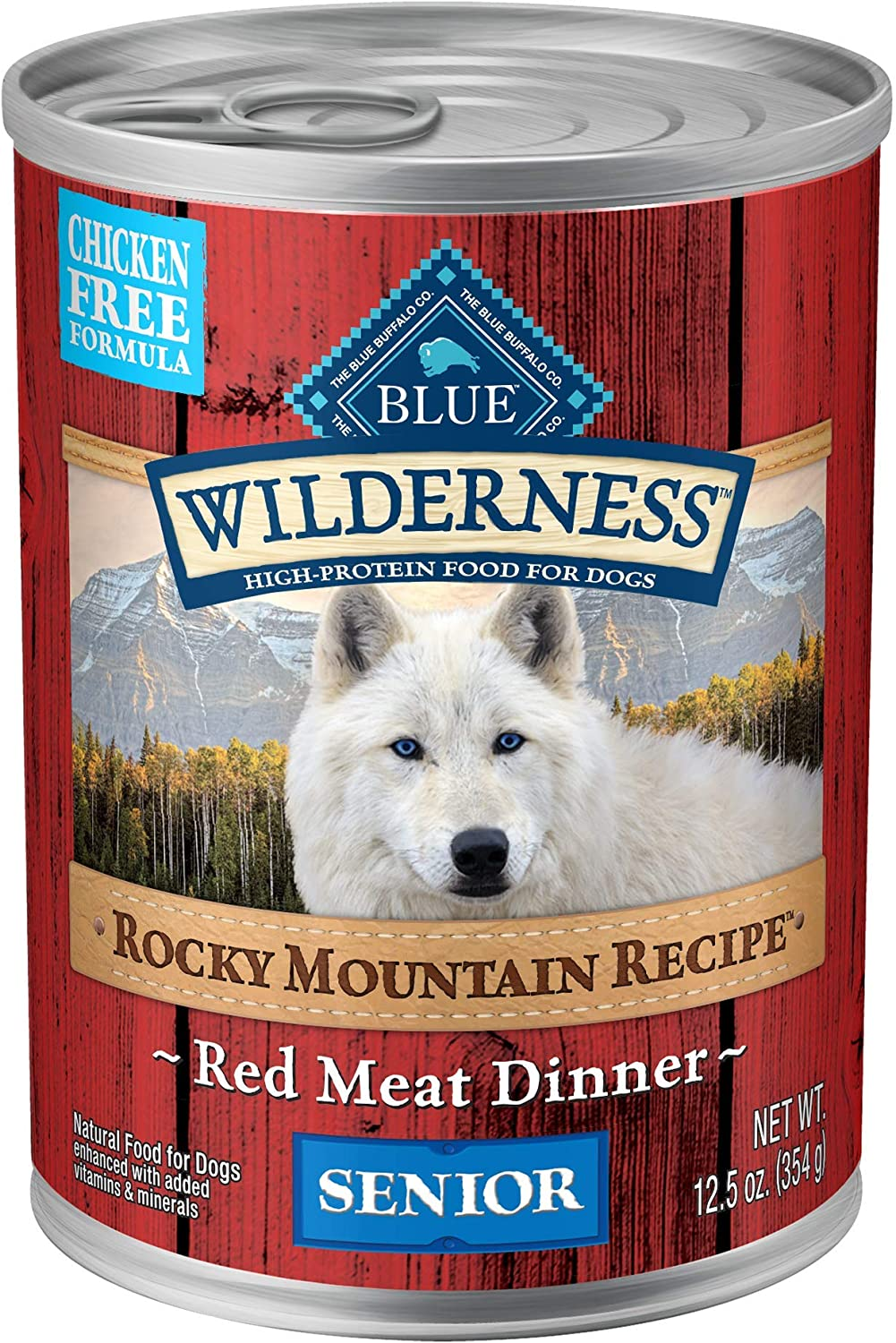 Blue Buffalo Wilderness Rocky Mountain Recipe High Protein Grain Free, Natural Senior Wet Dog Food, Red Meat 12.5-oz cans (Pack of 12)
