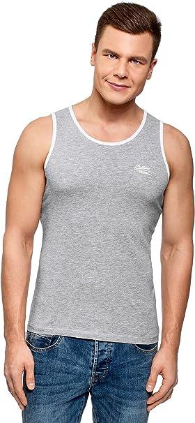 oodji Ultra Hombre Camiseta de Tirantes Acabado en Contraste, Gris, ES 58-60 / XXL: Amazon.es: Ropa y accesorios