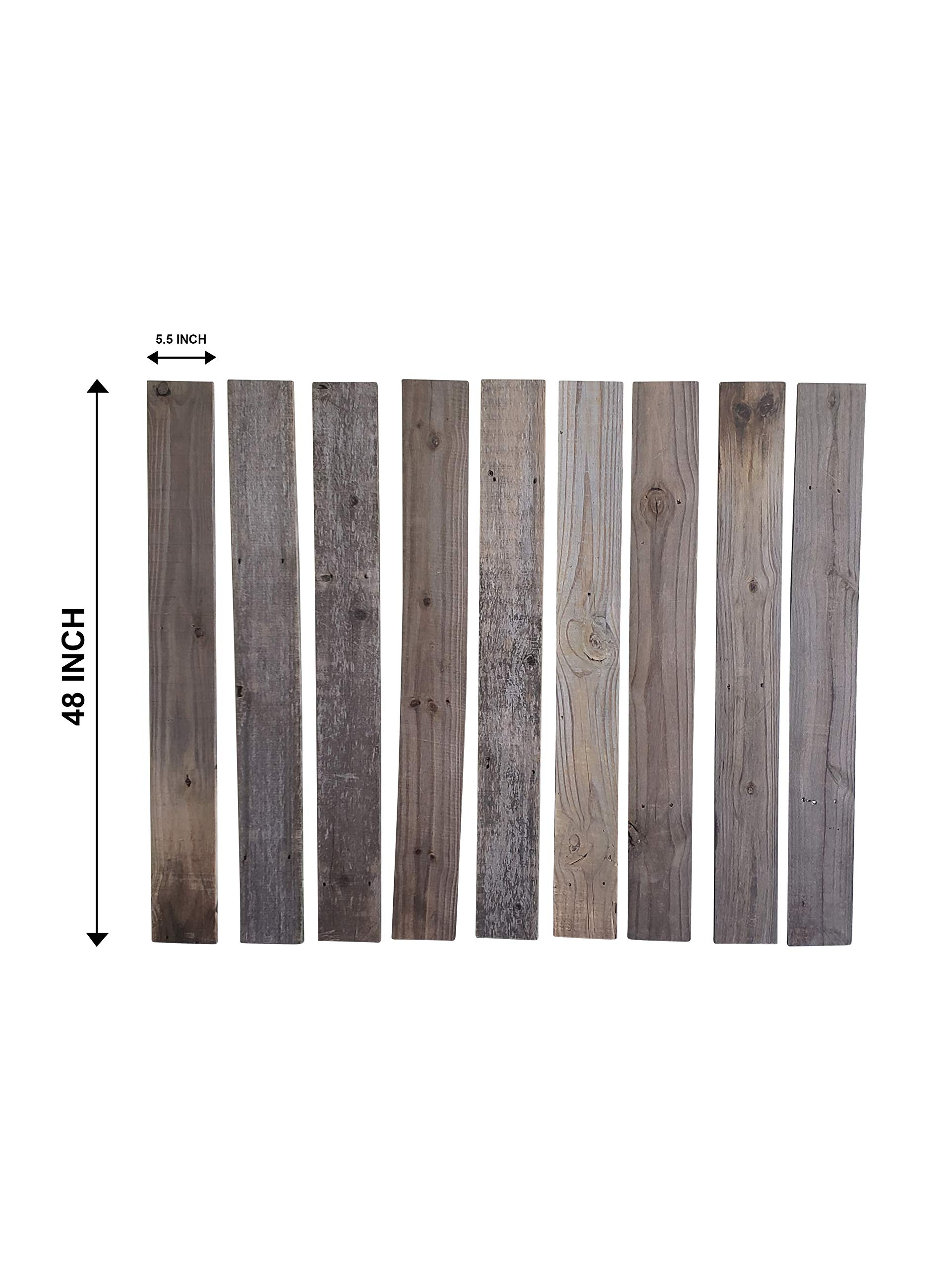 Rustic Weathered Reclaimed Wood Planks for DIY Crafts, Projects and Decor (9 Planks - 5.5''x48'')