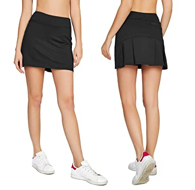 purchase cheap 9371a e51b7 Cityoung Women s Casual Pleated Tennis Golf Skirt with Underneath Shorts Running  Skorts bk xs