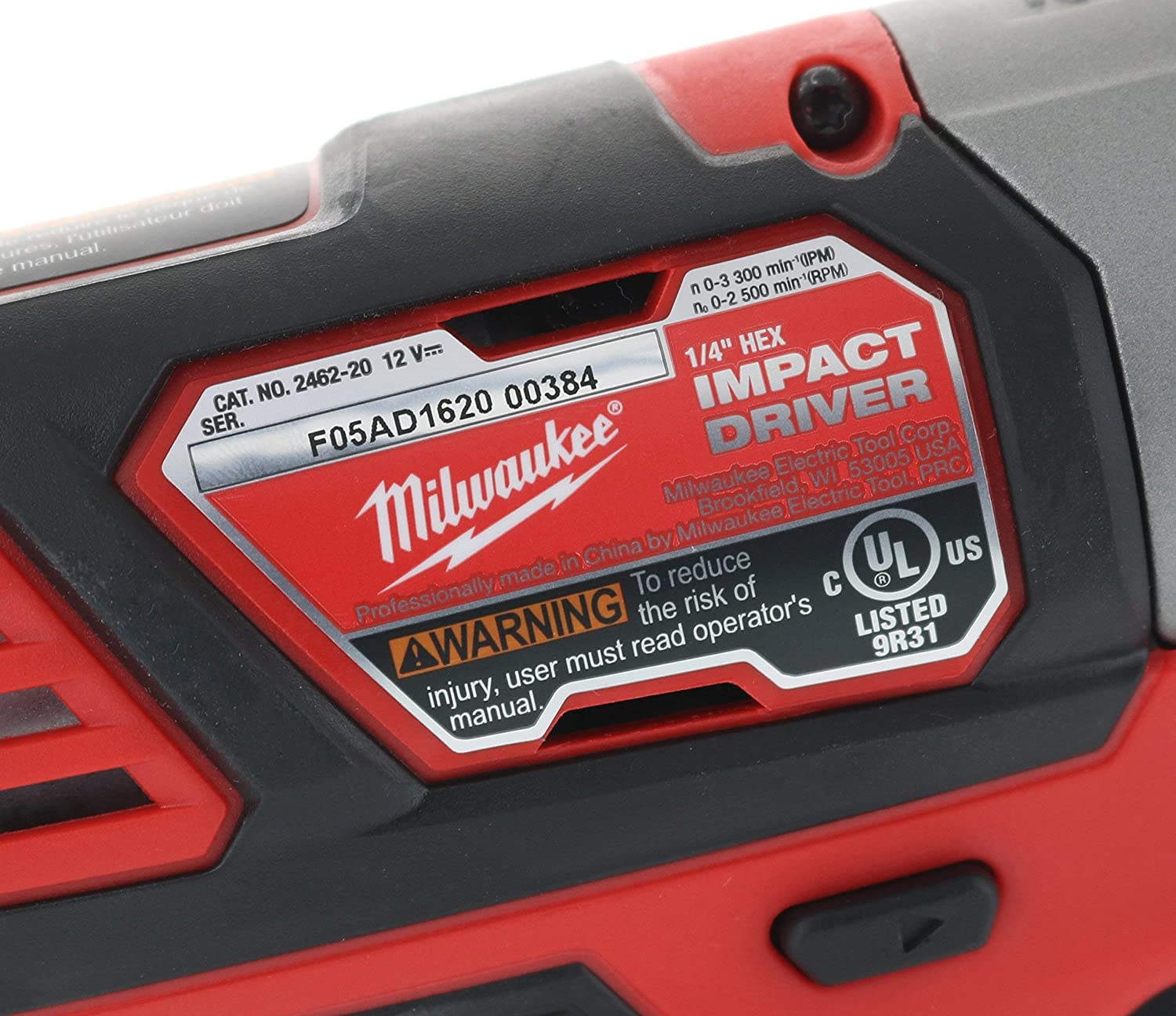 Renewed Battery Not Included, Power Tool Only Milwaukee 2462-20 M12 1//4 Inch Hex Shank 12 Volt Lithium Ion Cordless 2,500 RPM 1,000 Inch Pounds Impact Driver w// LED Light and Fuel Gauge