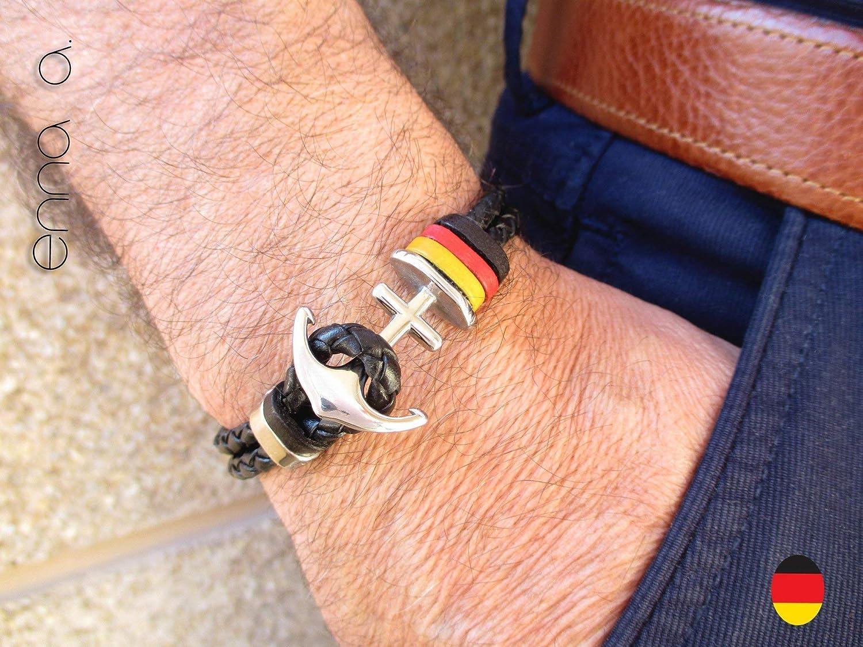 Bandera de la república de Alemania, Pulsera de cuero trenzado negro, Pulsera de ancla, banderas de paises, pulseras ...