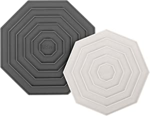 """Silicone Trivet Mats - Set of 2 - High-heat resistant-7"""" Charcoal Gray, 6"""" Ivory - For Stovetop Espresso Makers, Pot Holders - Protects Countertops and Hands"""