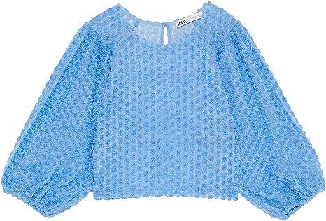 Zara 8146/101/400 Blusa de Tul Floral para Mujer - Azul ...