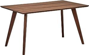 """Rivet Mid-Century Modern Minimalist Dining Kitchen Table, 53.1""""W, Walnut Wood"""
